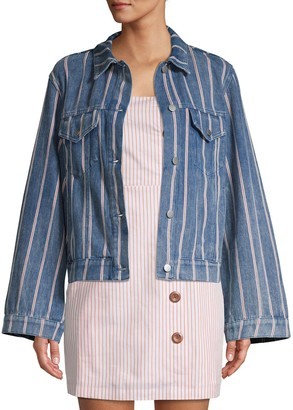 ENGLISH FACTORY Striped Bell Sleeve Denim Jacket