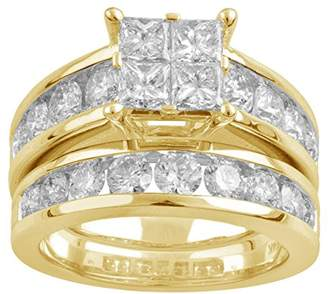 14k Gold Princess Quad Diamond Bridal Wedding Ring Set (3cttw