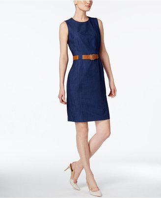 Calvin Klein Belted Denim Sheath Dress $134 thestylecure.com