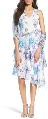 Women's Komarov Print Asymmetrical Hem Dress With Shawl $378 thestylecure.com
