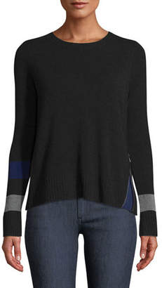 Lisa Todd Sneak Peek Cashmere Sweater w/ Peekaboo Side Zipper, Plus Size