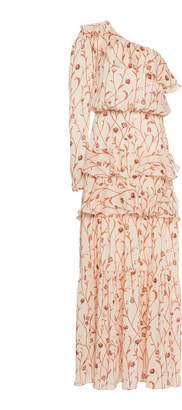 Johanna Ortiz Mysterious Soul One-Shoulder Georgette Dress