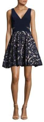 Xscape Evenings Damask-Applique Fit-and-Flare Dress