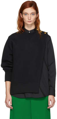 Sacai Black Sweat Shirting Combo Blouse