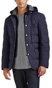 Brunello Cucinelli MEN'S QUILTED HOODED PUFFER JACKET - NAVY SIZE XL