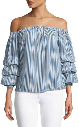 Velvet Heart Kelly Off-The-Shoulder Ruffle-Sleeve Blouse