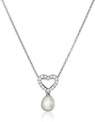 Bella Pearl Fancy Cubic Zirconia Heart Pendant Necklace
