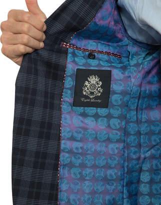 English Laundry Men's Slim-Fit Plaid Soft Wool 2-Piece Suit, Navy