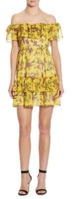 DAY Birger et Mikkelsen Scripted Ruffled Off-The-Shoulder Floral-Print Dress