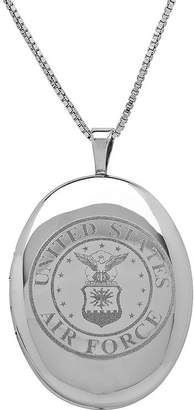 FINE JEWELRY Sterling Silver US Air Force Emblem Locket Pendant Necklace