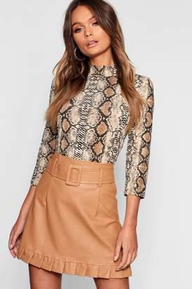 boohoo Belted PU Frill Hem Leather Look Mini Skirt
