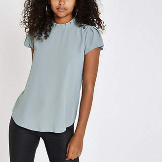 River Island Grey frill neck shell top