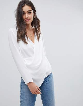 Asos DESIGN top with wrap plunge neck