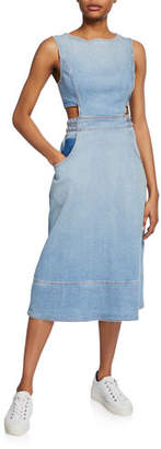 Current/Elliott The Braided Nightfall Sleeveless Denim Cutout Dress