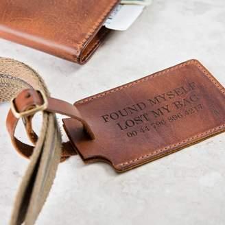 bda4cff760da ginger rose Personalised Luxury Leather Luggage Tag