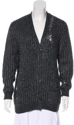 Saint Laurent Metallic Knit Cardigan