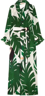 Adriana Degreas - Printed Silk Crepe De Chine Robe - Green