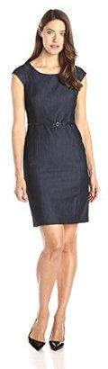 Jones New York Women's Brook Denim Cap-Sleeve Dress $129 thestylecure.com