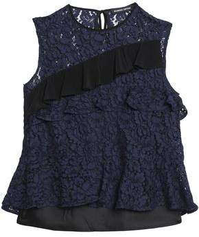 Markus Lupfer Ruffled Crepe-Trimmed Lace Top