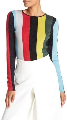 Diane von Furstenberg Long Sleeve Crew Neck Metallic Pullover