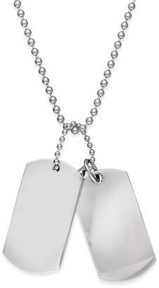 Sutton by Rhona Sutton Men's Stainless Steel Double Dog Tag Necklace