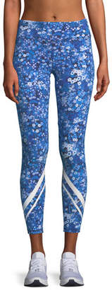 Tory Sport Floral-Print Chevron Cropped Activewear Leggings