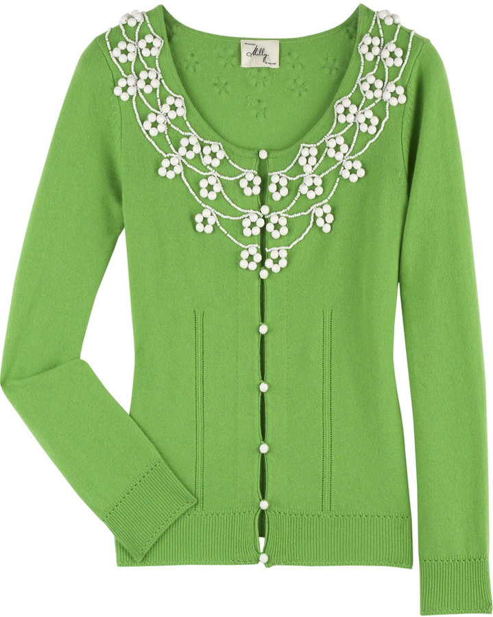 Milly Beaded cashmere cardigan