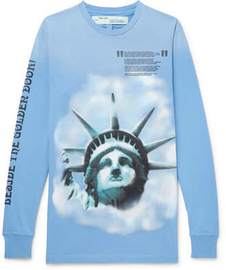 Off-White Printed Brushed-Cotton Jersey T-Shirt