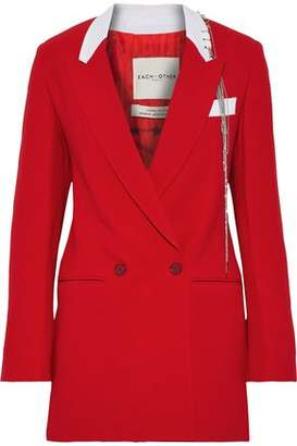 Each X Other Double-breasted Embellished Crepe Blazer