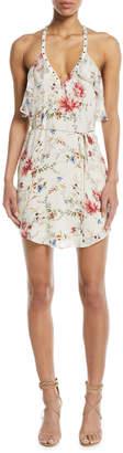 Haute Hippie Narrow Escape V-Neck Sleeveless Floral-Print Silk Dress