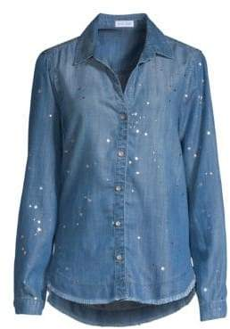 Bella Dahl Metallic Splatter Fray Hem Denim Button-Down Shirt