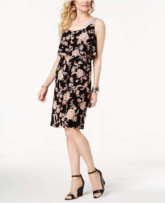 Style&Co. Style & Co Border-Print Flutter-Overlay Dress