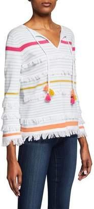 LISA TODD Classic Beach Fray Cotton Tassel Sweater