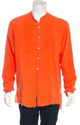 Greg Lauren Pleated Linen Casual Shirt