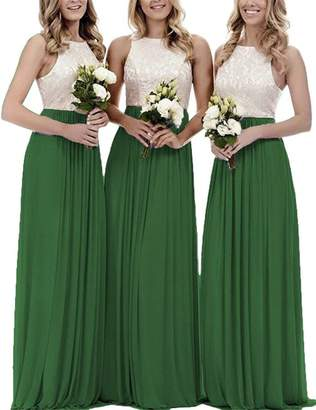 Vweil Long Bridesmaid Dress Chiffon Maid of Honor Top Lace Wedding Guest Gown