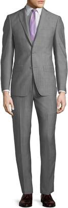 Michael Kors Slim-Fit Neat Herringbone Two-Piece Suit, Light Gray