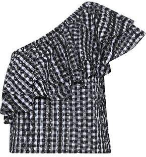 Rebecca Minkoff Lily One-Shoulder Gingham Broderie Anglaise Cotton Top