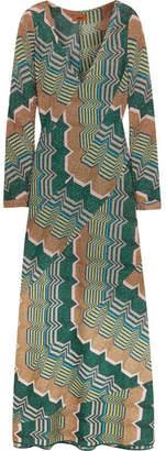 Metallic Crochet-knit Maxi Dress - Green