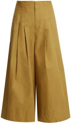 Sea Windbreaker cropped wide-leg cotton-blend trousers
