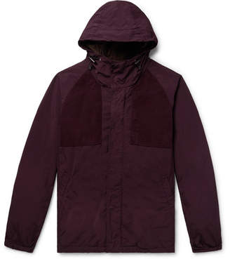 Aspesi Suede-Trimmed Garment-Dyed Shell Hooded Jacket