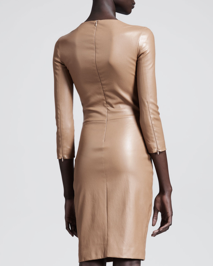 The Row Shiny Stretch-Leather Dress, Praline