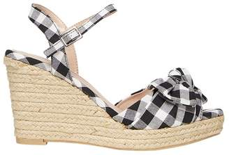Dorothy Perkins Gingham Rolo Bow Wedge Sandals