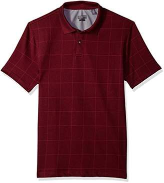 Van Heusen Men's Printed Short Sleeve Windowpane Polo Shirt