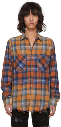 Amiri Red and Blue Faded Plaid Shirt