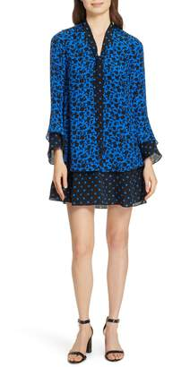 Alice + Olivia Wellesly Tie Neck Bell Sleeve Dress