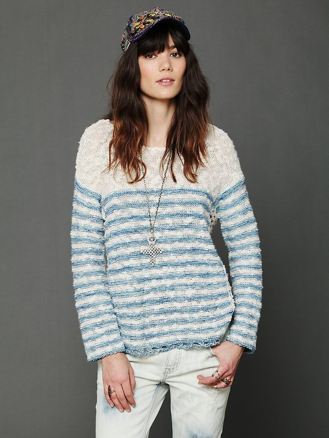 Free People Striped In Crochet Pullover