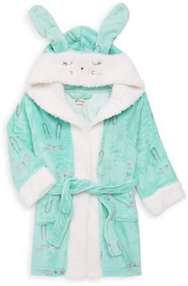 Petit Lem Little Girl's Hood Faux-Shearling Bunny Robe