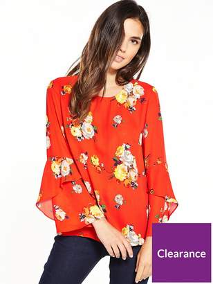 Warehouse Victoria Floral Fluted Cuff Top – Orange
