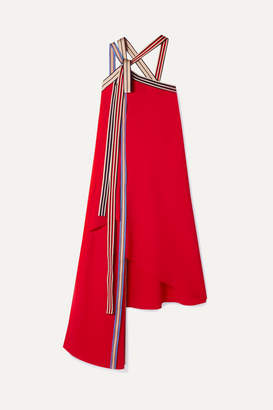 Monse Asymmetric Grosgrain-trimmed Crepe Midi Dress - Red
