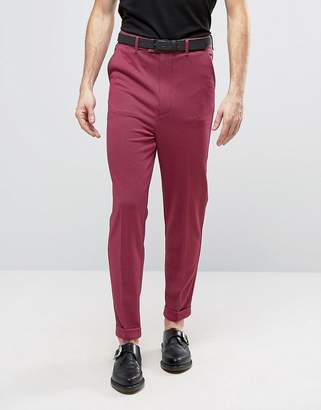 Asos Super Skinny High Waist Pants In Pink Dogtooth Design